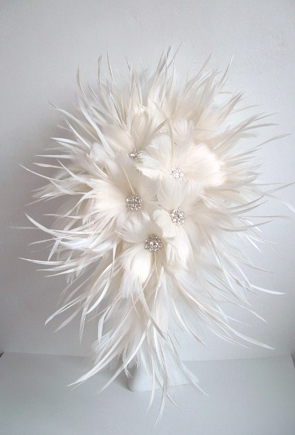 Feather flower bridal bouquet off white on luulla feather flower bridal bouquet off white mightylinksfo